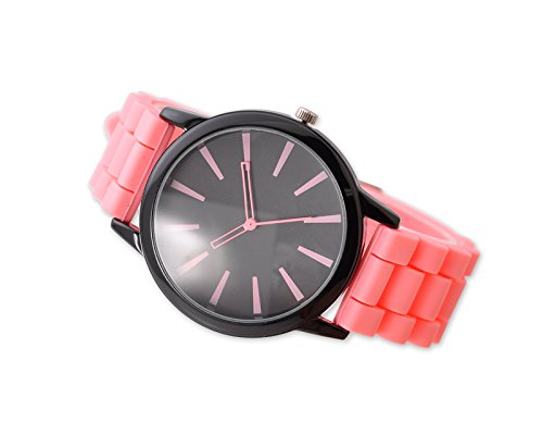 Geneva Unisex Silikon Liebhaber Armbanduhren Analoges Maenner Quarzuhr Vatertag Geschenkuhr Modeuhr Rosa