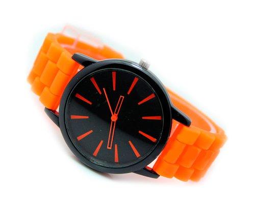 Geneva Unisex Silikon Liebhaber Armbanduhren Analoges Maenner Quarzuhr Vatertag Geschenkuhr Modeuhr Orange