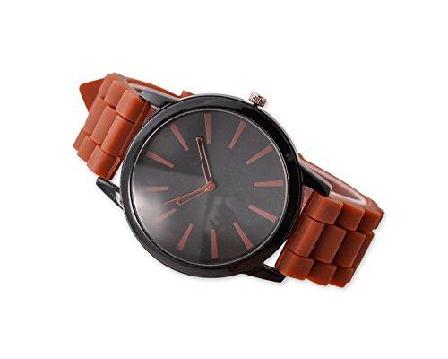 Geneva Unisex Silikon Liebhaber Armbanduhren Analoges Maenner Quarzuhr Vatertag Geschenkuhr Modeuhr Braun