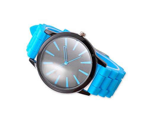 Geneva Unisex Silikon Liebhaber Armbanduhren Analoges Maenner Quarzuhr Vatertag Geschenkuhr Modeuhr Eisblau