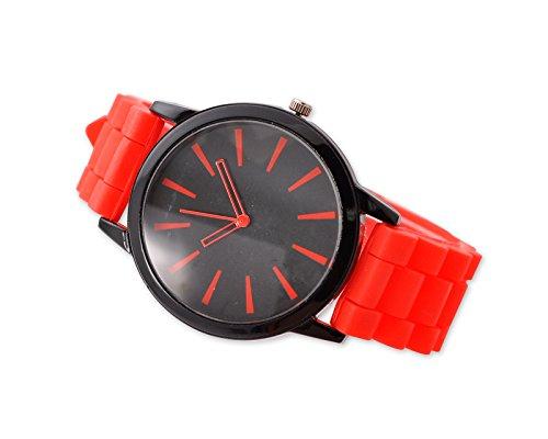 Geneva Unisex Silikon Liebhaber Armbanduhren Analoges Maenner Quarzuhr Vatertag Geschenkuhr Modeuhr Rot