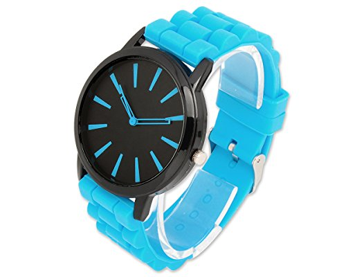 Geneva Unisex Silikon Liebhaber Armbanduhren Analoges Maenner Quarzuhr Vatertag Geschenkuhr Modeuhr Hellblau