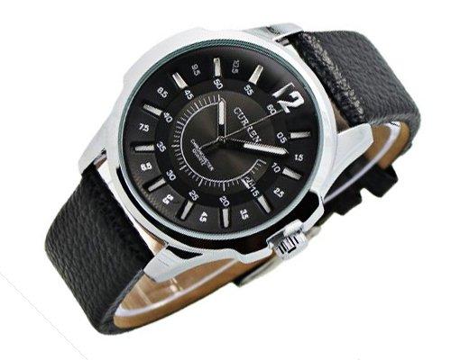 Curren Wasserdicht Analog Quarz Datum Anzeige rundes silber Zifferblatt mit schwarz PU Leder Armband und Dornschliesse Sport C
