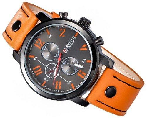 Curren Wasserdicht Retro PU Orange Lederband Armband Analog Quarz Anzeige mit rundes oranges Nummer Zifferblatt und Dornschliesse Sport D