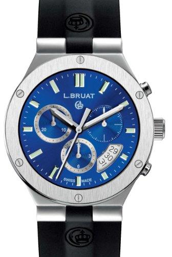 Schweizer Sportuhr L Bruat Chronograph 40 blau metallic