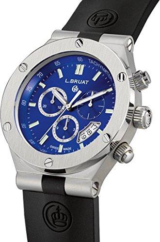 Schweizer Sportuhr L Bruat Chronograph 45 blau