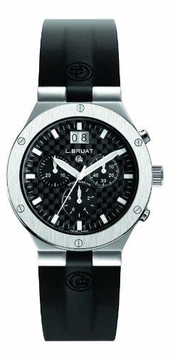 Schweizer Sportuhr L Bruat Chronograph mit Grossdatum und Carbon Zifferblatt 40 mm Swiss Made