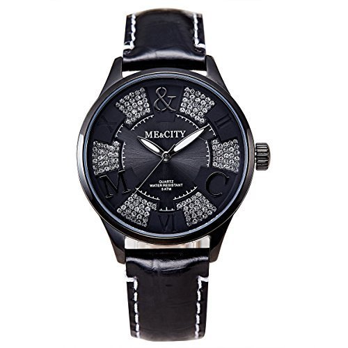 Me City m202bk 2016 Neue Hohe Qualitaet Marke Luxus Einzigartige Frauen Lady Geschenk echtem Lederband wasserdicht Quarz Kleid beliebtes Casual Fashion Armbanduhr