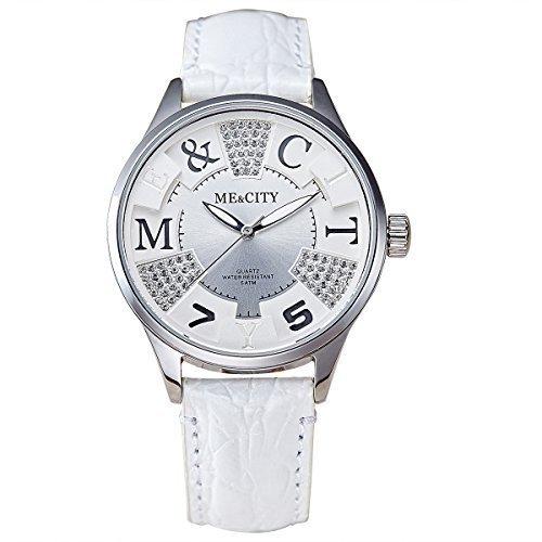 Me City m202wh 2016 Neue Hohe Qualitaet Marke Luxus Einzigartige Frauen Lady Geschenk echtem Lederband wasserdicht Quarz Kleid beliebtes Casual Fashion Armbanduhr