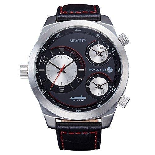 Me City m2009rd Luxus einzigartigen 3 Zeit Zone Marke Hohe Qualitaet Herren Echt Lederband 5 ATM wasserdicht Quarz Kleid Casual Fashion Sport Uhren