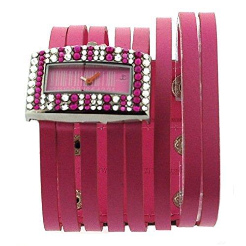 Jimmy Crystal Modeuhr mit rosa Swarovski Kristallen rosa Barcode Zifferblatt und rosa Stringarmband