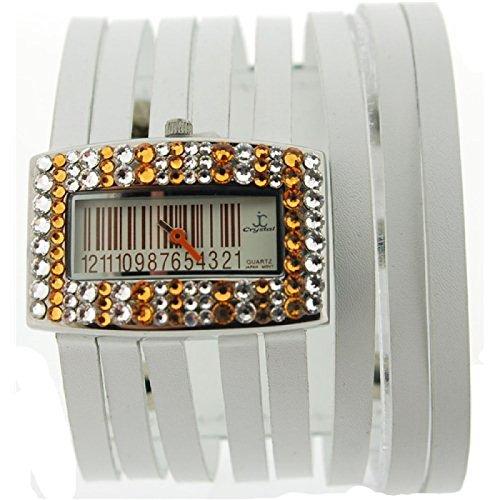 Jimmy Crystal Modeuhr mit Topas Swarovski Kristallen Barcode Zifferblatt und weissem Stringarmband