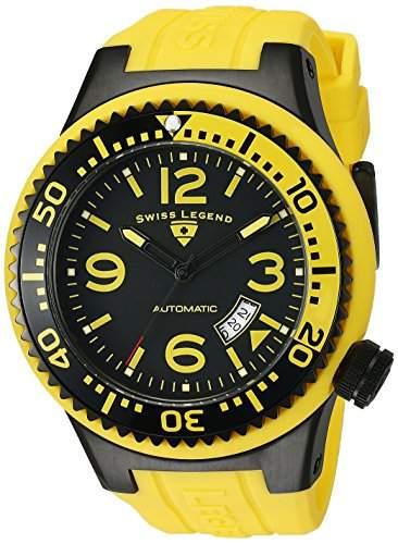 Swiss Legend Herren 11819A-BB-01-YBL-W Neptune Automatic Black Dial Yellow Silicone Armbanduhr