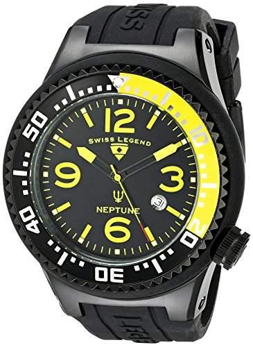 Swiss Legend Herren 21818P-BB-01-YB Neptune Collection Black Ion-Plated Black Rubber Uhr