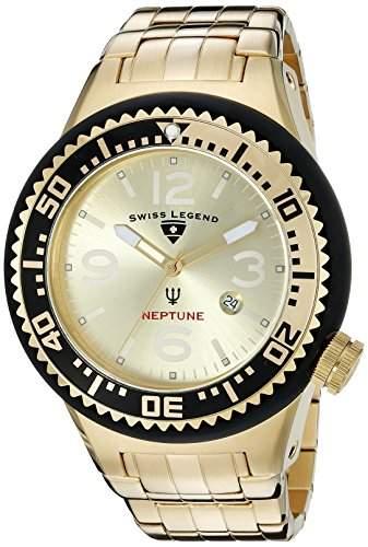 Swiss Legend Neptune Herren-Armbanduhr 52mm Armband Edelstahl Gehaeuse Silikon Schweizer Quarz 21819P-YG-10