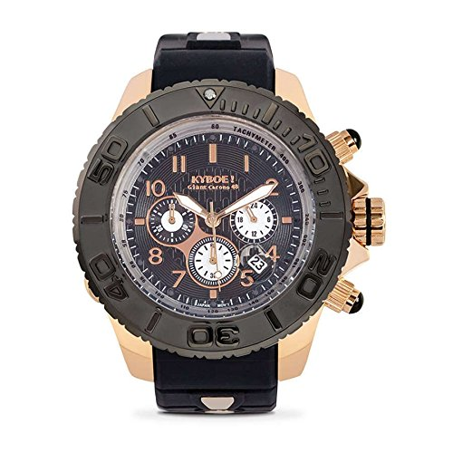Kyboe Chrono Rose Gold Analog Quartz Gummi Schwarz KYCRG 004 48