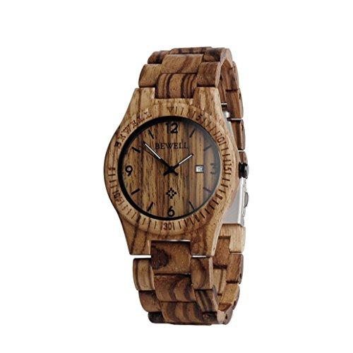 Holz Uhr hansee Herren Uhren By Bewell Analog Quarzwerk Tag Display Vintage Holz Armbanduhr A