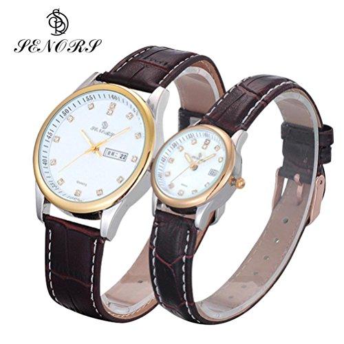 Valentinstag Geschenke hansee Lovers Uhren Leder Band Paar Ultrathin Wasserdicht Quarz Uhr braun