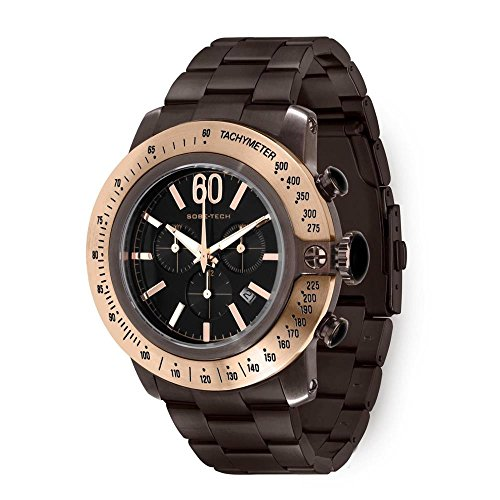 Glam Rock Herren SoBe 50 mm braun IP Stahl Armband und Fall Schweizer Quarz Schwarz Zifferblatt analoge Uhr gr33109 N