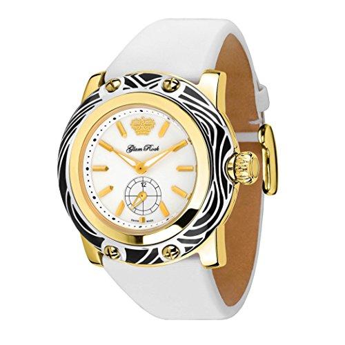 Glam Rock Miami Damen Armbanduhr 46mm Armband Leder Weiss Schweizer Quarz Analog GR10507