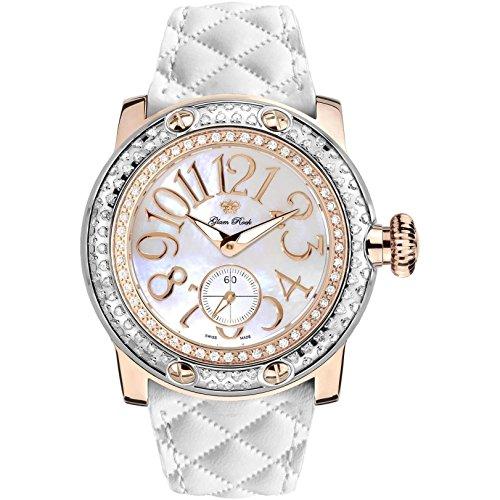 Glam Rock Miami Diamant 46 mm Leder Band Rose Vergoldet Weiss Fall Swiss Quarz gr10532d