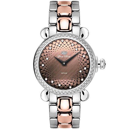 Glam Rock Vintage 34mm Armband Zweifaerbiger Edelstahl Schweizer Quarz Analog GR28059DS