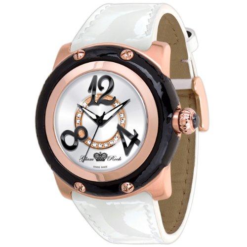 Glam Rock Damen GR10043 Miami Sammlung Diamant Akzent weissem Lackleder Uhr