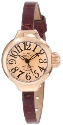 Glam Rock Miami Beach Art Deco Damen 26mm Braun Leder Armband Uhr MBD27085