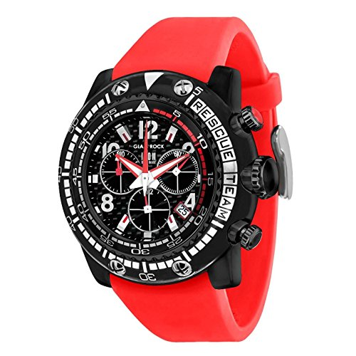 Glam Rock Herren Miami Beach 50 mm rot silikon Band Polycarbonat Fall Quarz Schwarz Zifferblatt Armbanduhr gr20139