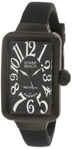 Glam Rock Miami Beach Art Deco Damen Schwarz Kautschuk Armband Uhr MBD27027