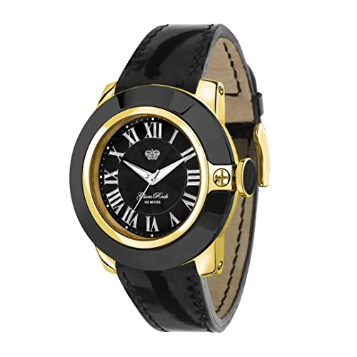 Glam Rock Damen Sobe 44 mm schwarz Leder Band vergoldet Fall Swiss Quarz analoge Uhr gr32025