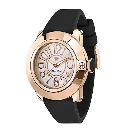 Glam Rock Damen Sobe 44 mm schwarz Silikon Band Rose Vergoldet Fall Schweizer Quartz MOP Zifferblatt Armbanduhr gr32052 a