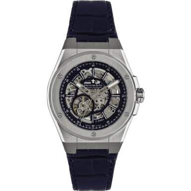 Dreyfuss & Co Mens Automatic Skeleton Dial Leather Strap Watch - DGS0007905