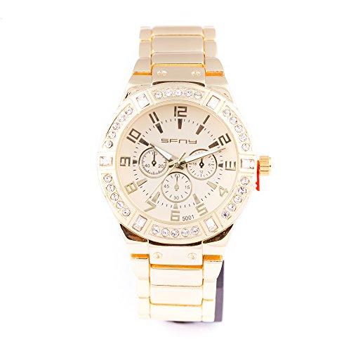 Herren Armbanduhr vergoldet Quarz Rundes Iced Out Luenette Zifferblatt Link Watchstrap