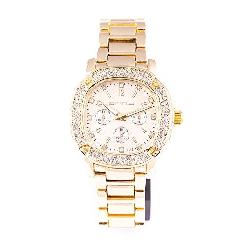 Herren Gold Rund Armbanduhr Iced Out Zifferblatt Mode