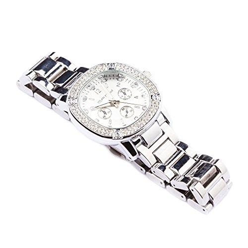 Herren Silber Iced Out rund QUARZ Zifferblatt Fashion Armbanduhr Armbanduhr