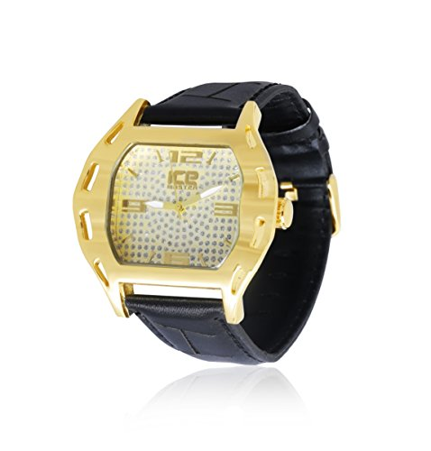 Herren Vergoldet Schwarz Echtes Leder Strap Extra Large geschoben Hip Hop Bling Armbanduhr