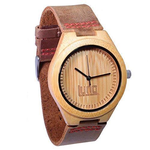 LUNO HERREN Bambus Holz Armbanduhr tragen echt Leder das Shoots