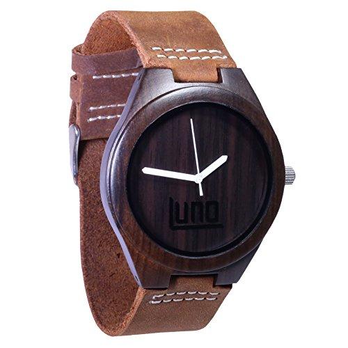 LUNO Wear Herren Holz Uhr Holz und echt Leder das Orca