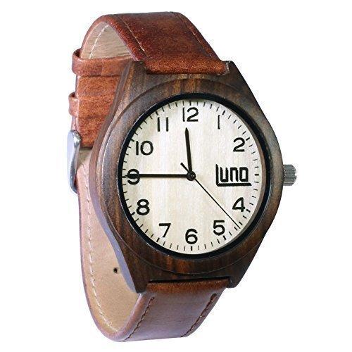LUNO Wear Herren Holz Uhr Holz und echt Leder das Kiefer
