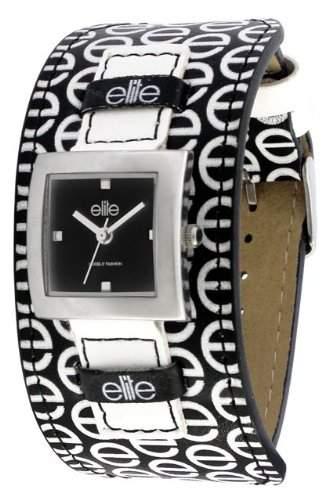 Elite Damen-Armbanduhr E50742003mit Legierung Fall, PU mit echtem Nubukleder gefuettert Gurt, Edelstahl Stahl CaseBack