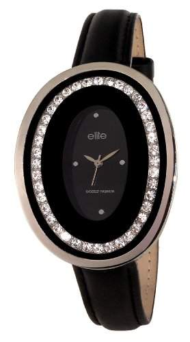 Elite Damen-Armbanduhr Analog Quarz Leder E52872-203