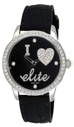 Elite Models Fashion-E52929-003Damen-Armbanduhr-Quarz Analog-Zifferblatt schwarz Armband Kautschuk schwarz