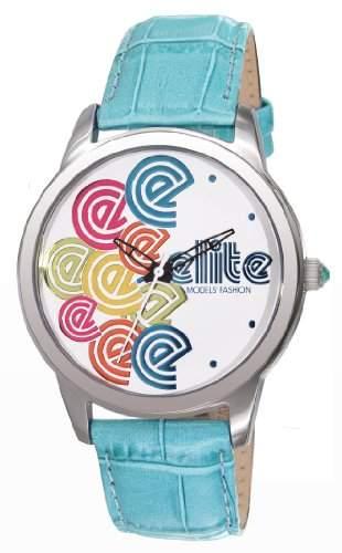 Elite Damen-Armbanduhr Analog Leder Blau E52982003