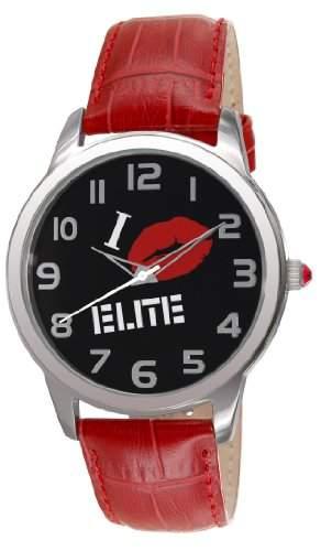 Elite Damen-Armbanduhr Analog Leder Rot E52982004