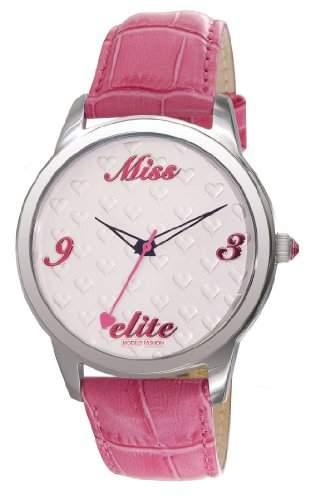 Elite E52982006 Damen-Armbanduhr Minny Quarz analog Leder Rosa