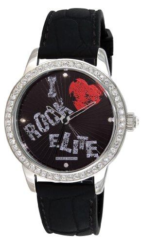 Elite Models Fashion E52929 002 Quarz Analog Zifferblatt schwarz Armband Kautschuk schwarz