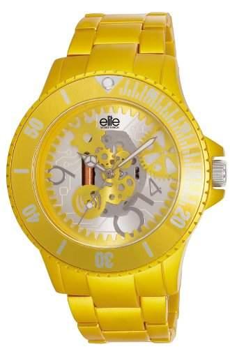 Elite Models Fashion-E53284-004Damen-Armbanduhr-Quarz Analog-Zifferblatt Gelb Armband Aluminium gelb