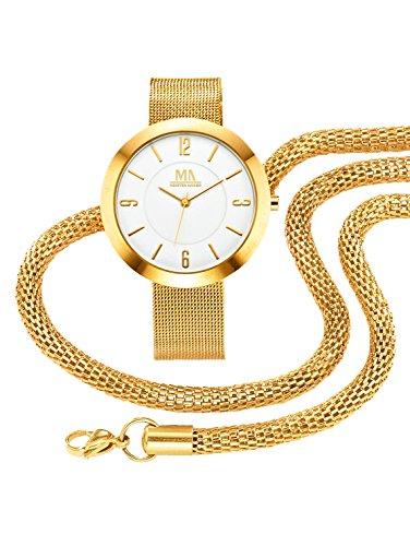 Damen 3tlg Uhren Set mit Halskette und Armband by MeisterAnker