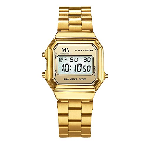 Meister Anker Herren Armbanduhr 23cm gelb Digital Mineralglas 490000003
